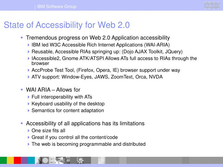 State of accessibility for web 2 0