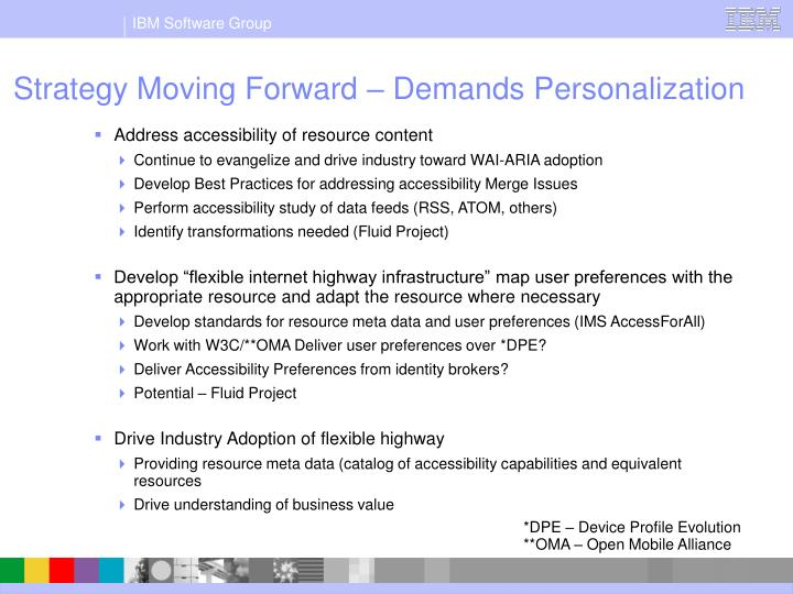 Strategy Moving Forward – Demands Personalization