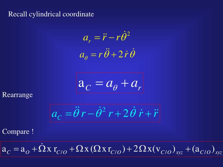Recall cylindrical coordinate