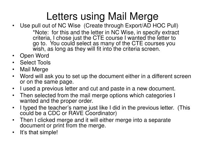 Letters using Mail Merge