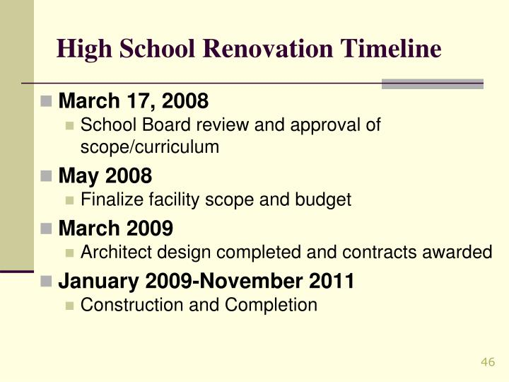 High School Renovation Timeline