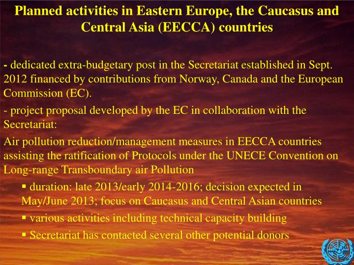 Planned activities in Eastern Europe, the Caucasus and Central Asia (EECCA) countries