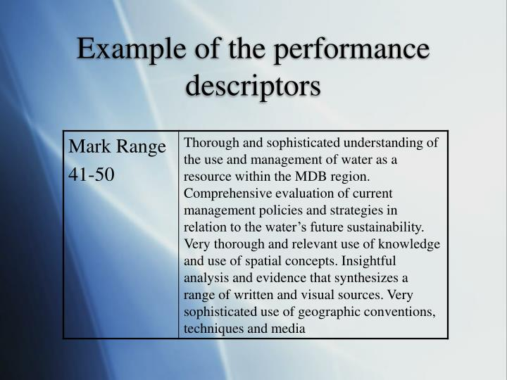 Example of the performance descriptors