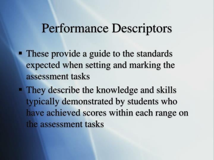 Performance Descriptors