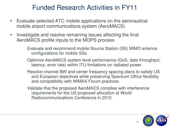 Funded Research Activities in FY11