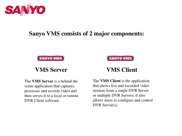 Sanyo VMS consists of 2 major components: