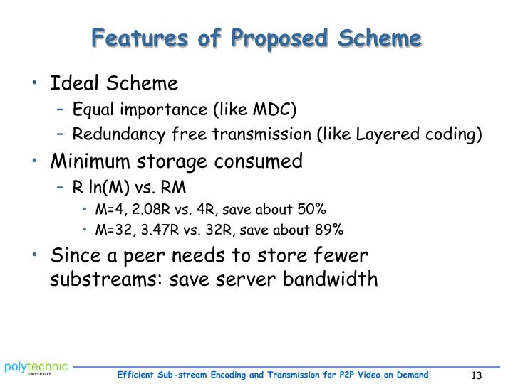 Features of Proposed Scheme