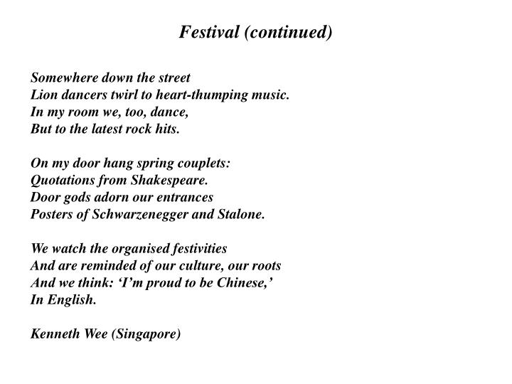 Festival (continued)