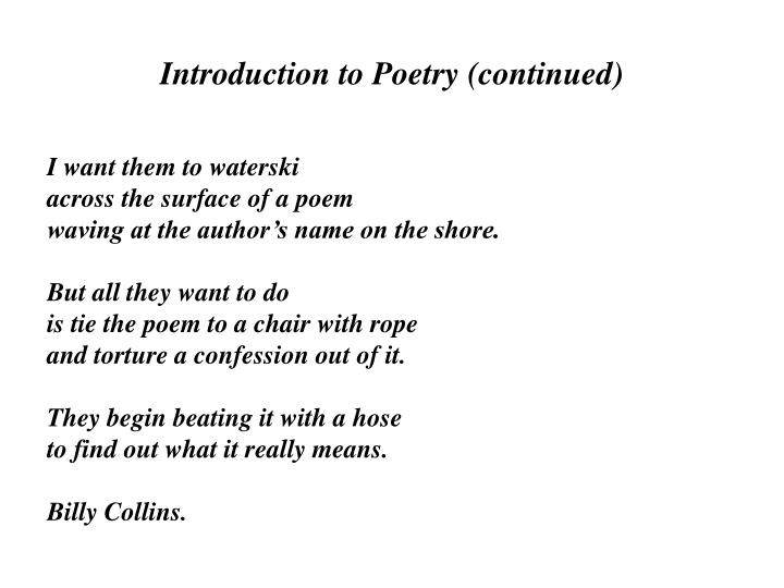 Introduction to Poetry (continued)