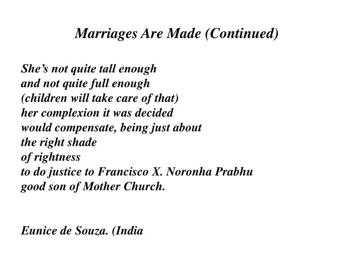Marriages Are Made (Continued)