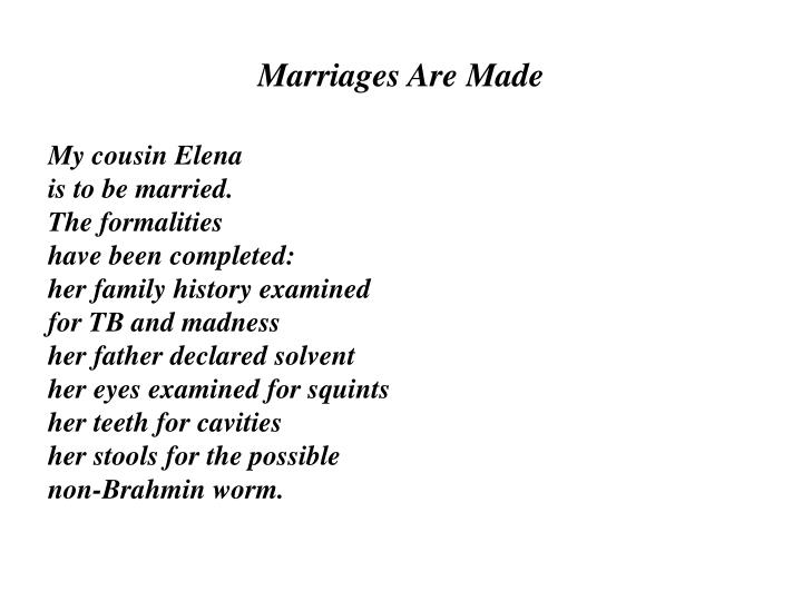 Marriages Are Made