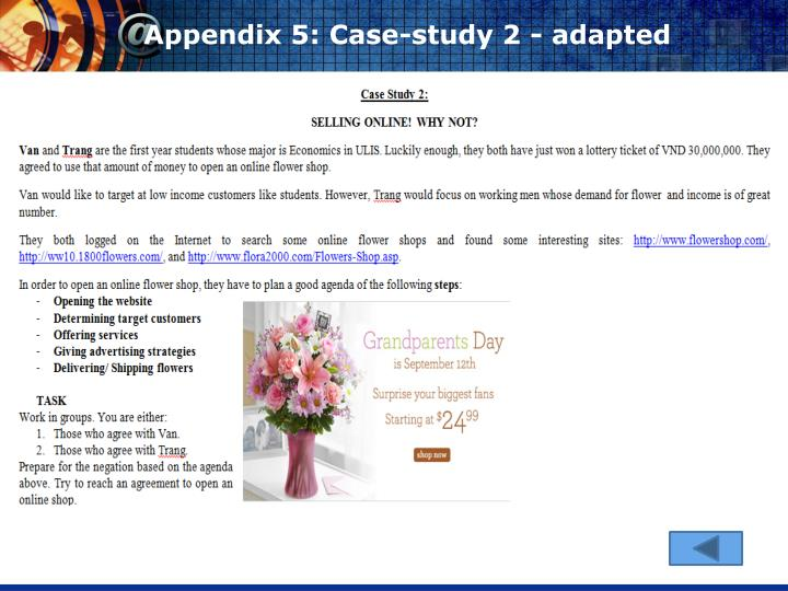 Appendix 5: Case-study 2 - adapted