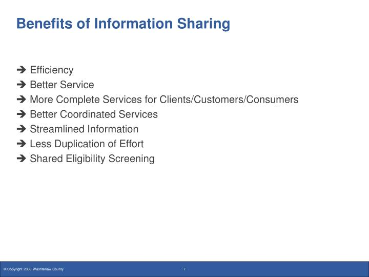Benefits of Information Sharing