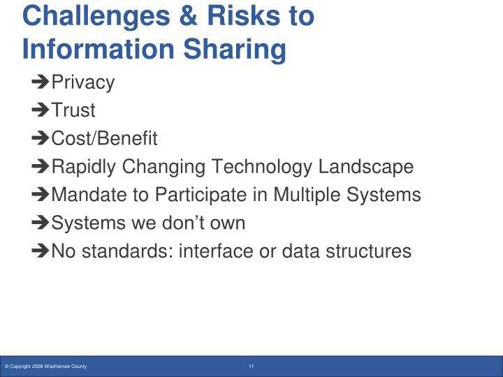 Challenges & Risks to Information Sharing