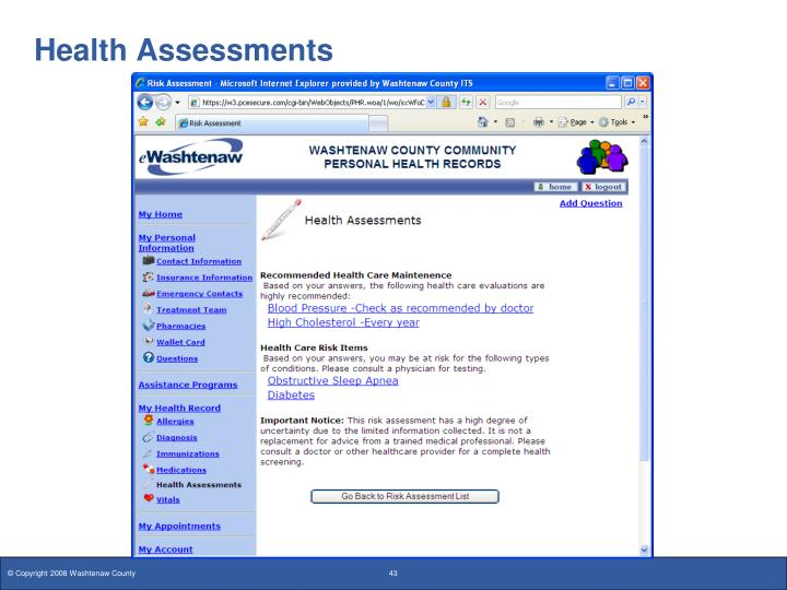 Health Assessments