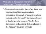 what about research intensive universities one perspective