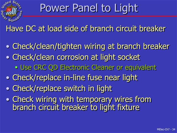 Power Panel to Light