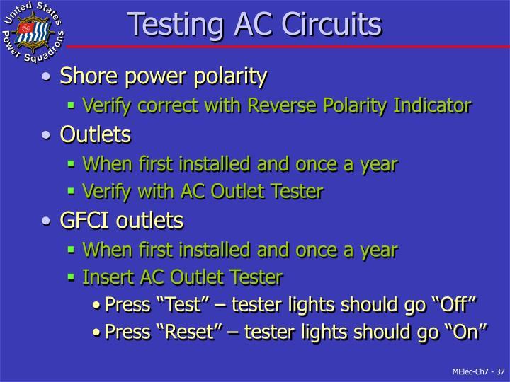 Testing AC Circuits