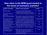 how close is the npm quasi market to the forms of economic markets