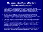 the economic effects of tertiary education and research