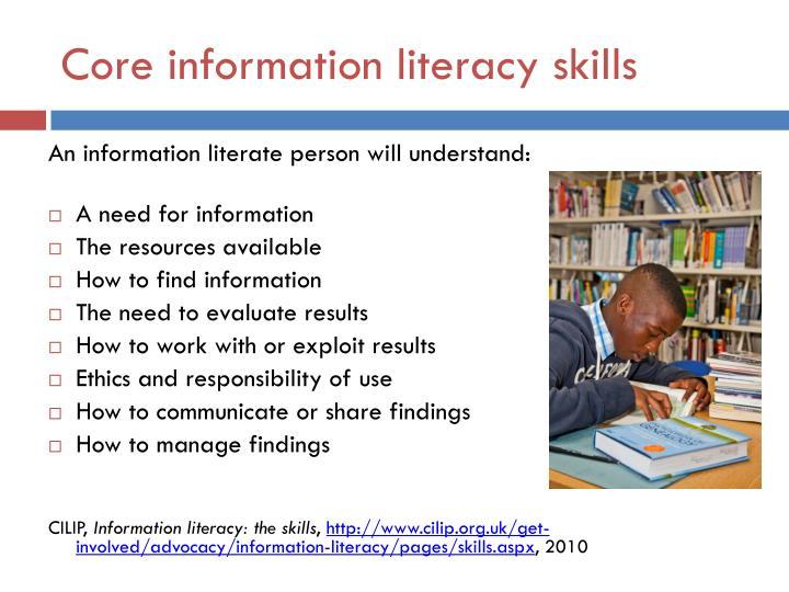 Core information literacy skills