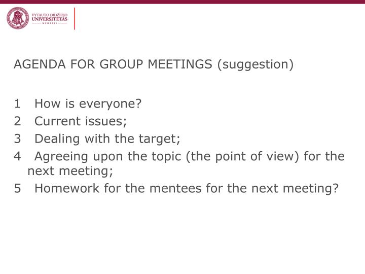 AGENDA FOR GROUP MEETINGS (suggestion)