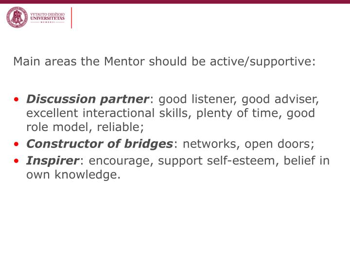 Main areas the Mentor should be active/supportive:
