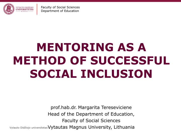 Mentoring as a method of successful social inclusion