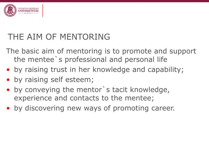 THE AIM OF MENTORING