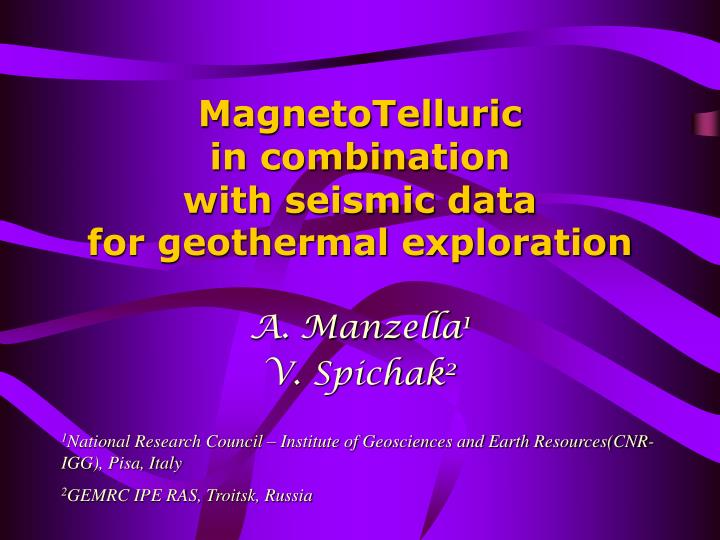 magnetotelluric in combination with seismic data for geothermal exploration n.