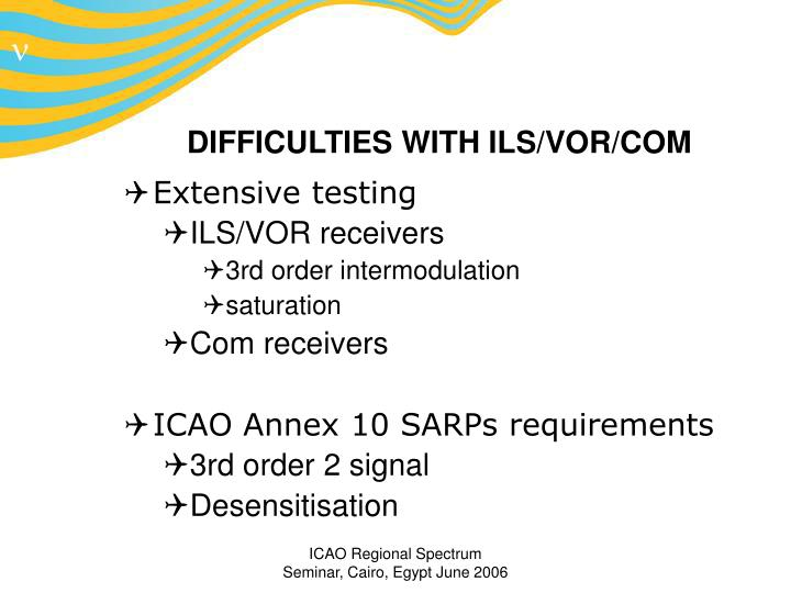 DIFFICULTIES WITH ILS/VOR/COM