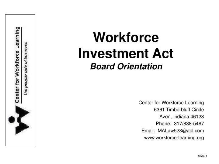 workforce investment act board orientation n.