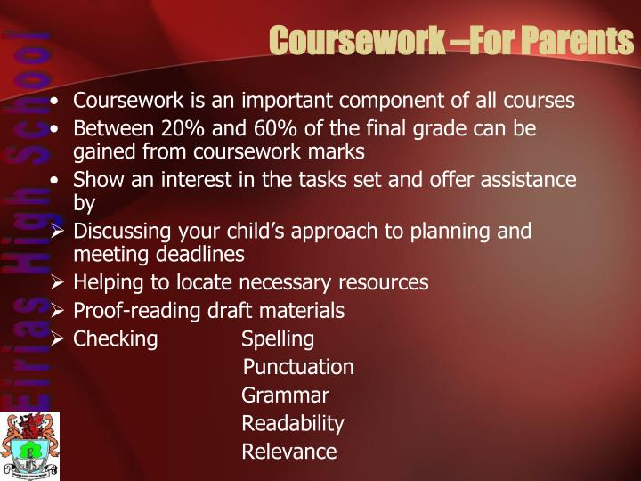 Coursework –For Parents
