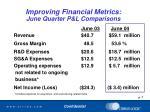 improving financial metrics june quarter p l comparisons