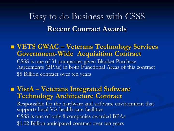 Easy to do Business with CSSS