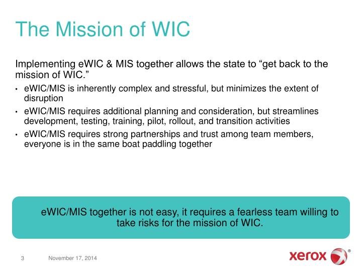 The mission of wic