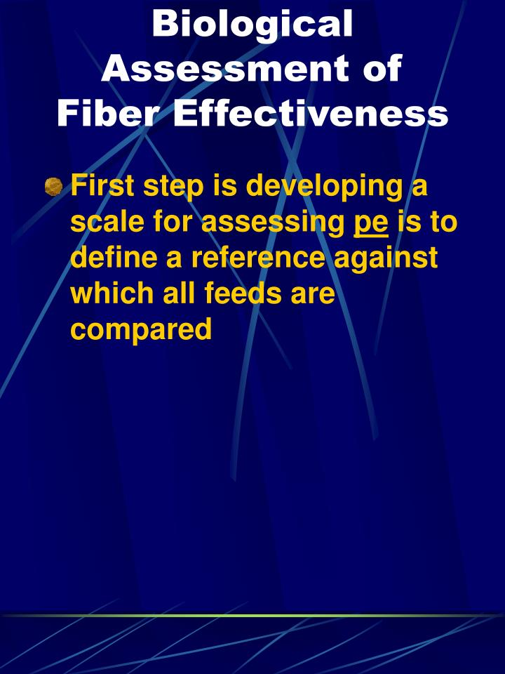 Biological Assessment of Fiber Effectiveness