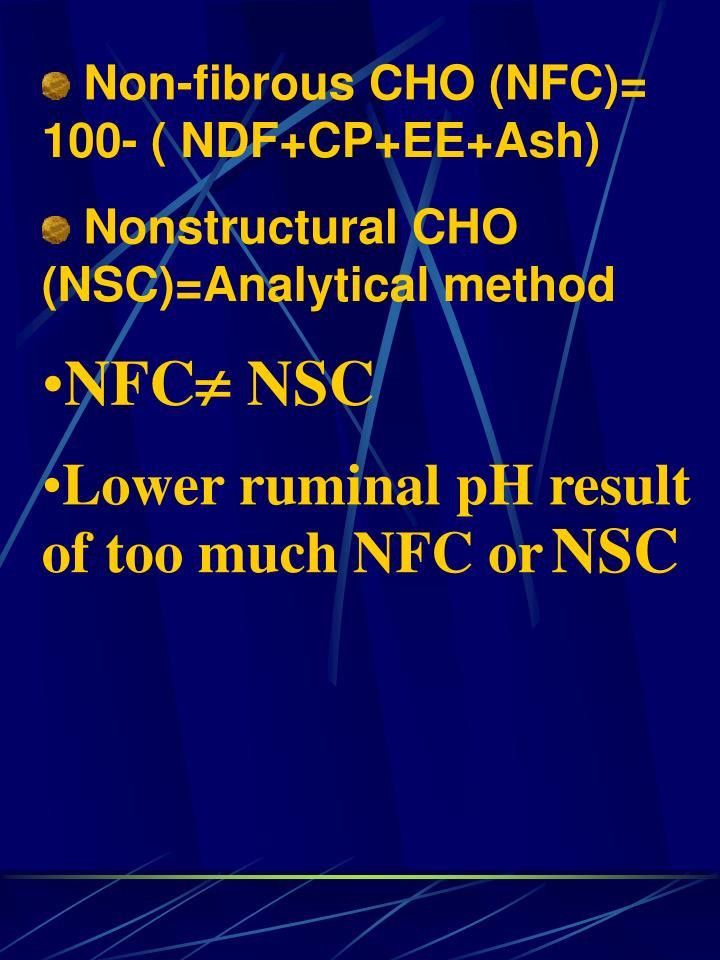 Non-fibrous CHO (NFC)= 100- ( NDF+CP+EE+Ash)