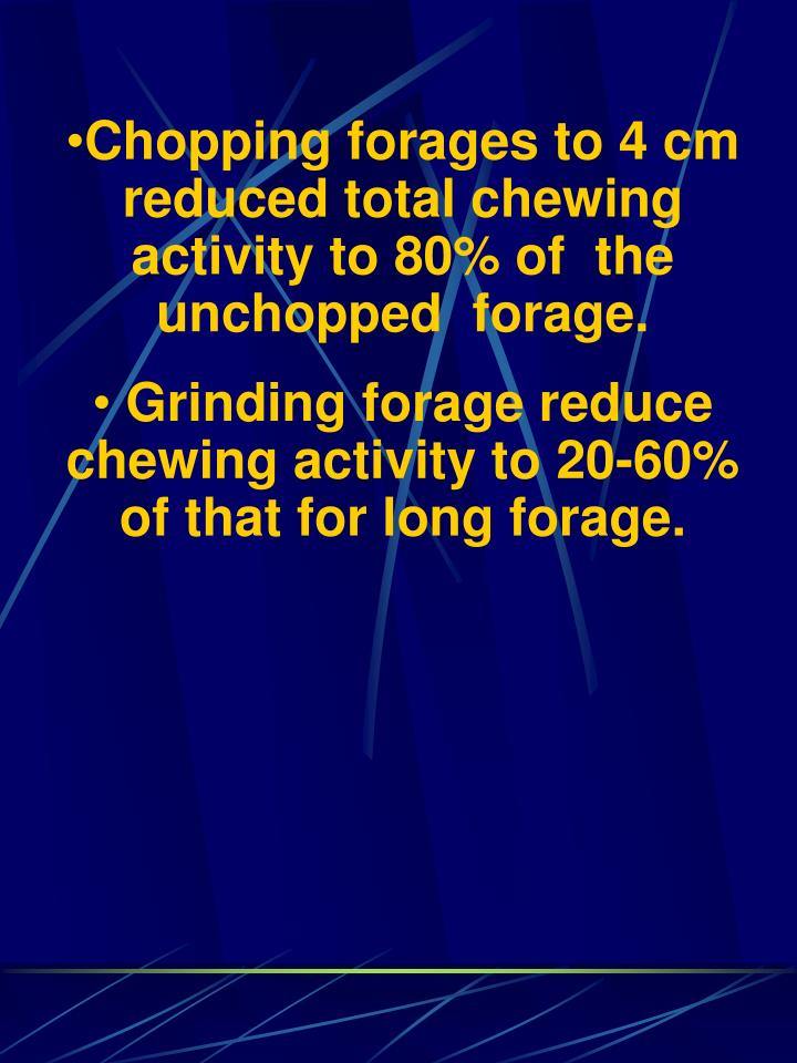 Chopping forages to 4 cm reduced total chewing activity to 80% of  the unchopped  forage.