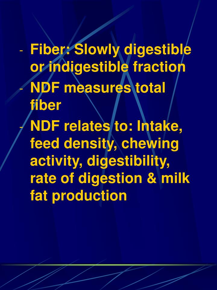 Fiber: Slowly digestible or indigestible fraction