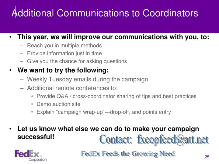 Additional Communications to Coordinators