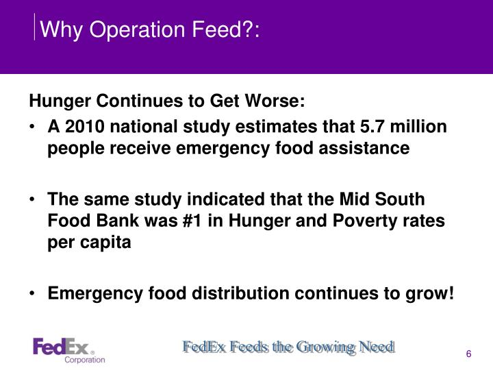 Why Operation Feed?: