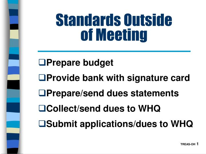 Standards outside of meeting