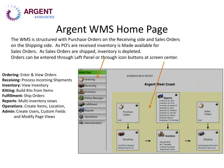 Argent wms home page