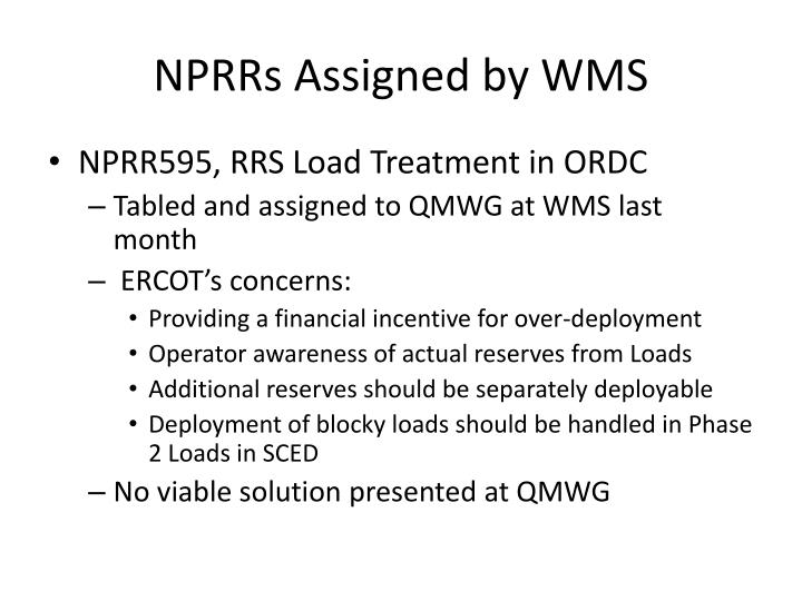 Nprrs assigned by wms