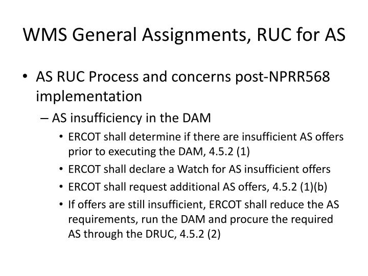 Wms general assignments ruc for as