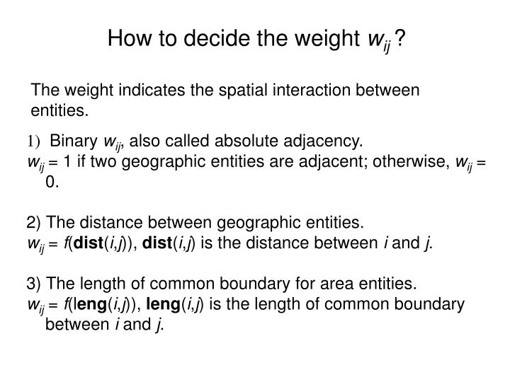 How to decide the weight