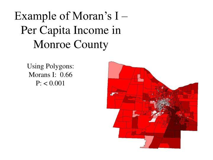 Example of Moran's I – Per Capita Income in Monroe County