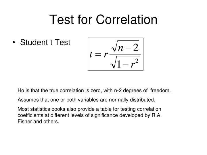 Test for Correlation