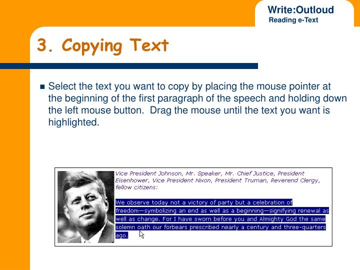3. Copying Text